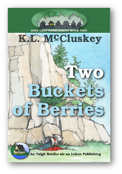 Two Buckets of Berries book cover. Two spilled buckets of berries at the base of a cliff.