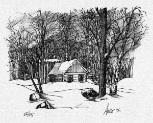 black and white print of cabin in forest.